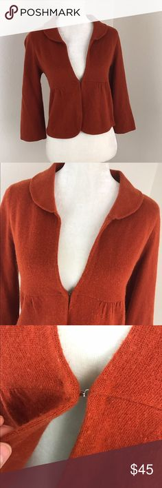 Anthropologie HWR Orange Peplum Cardigan 3/4Sleeve Anthro HWR burnt orange 3/4 sleeve lambs wool blend Cardigan with baby doll/ peplum cut, vintage style and collar detail. Cropped fit. Great condition some minor pilling no issues. Anthropologie Sweaters Cardigans