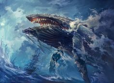 Colossal Whale, Magic: The Gathering, Concept Art House on ArtStation at https://www.artstation.com/artwork/arw8k