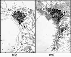 Maps illustrating the expansion of Ottoman Thessaloniki beyond the walled city, from 1850 to 1809. The Yeni Camii lies at the center of the new Hamidiye neighborhood, which appears in the right-hand map as the large area south-east of the city center, next to the shore of the bay. Walled City, Thessaloniki, Macedonia, The Expanse, Maps, The Neighbourhood, Greece, Ottoman, Lost