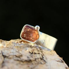 Goldie - Adjustable Metal Soldered Ring with Golden Imperial Topaz gemstone $25 by AtelierQ