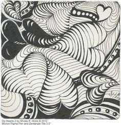 """Op Hearts 2 by Sharla R. Hicks © 2012, Micron Pigma Pen and 3.5"""" Tile 