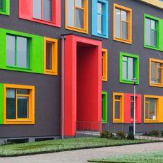 Colour Architecture, Education Architecture, Futuristic Architecture, Facade Architecture, Concept Architecture, School Architecture, School Building Design, Home Building Design, Building Facade