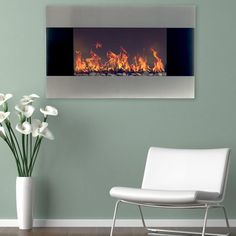 Northwest Stainless Steel 35 in. Electric Fireplace Wall Mount - Fireplaces at Hayneedle