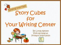 FREE task cards and writing prompt cubes for autumn stories