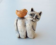 Folk Art Cat Sculpture Ceramic Hand Built by FlowerandPearlStudio, $55.00