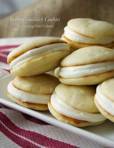 Lemon sandwich cookies are cake-like with cream cheese filling. A double batch is recommended.