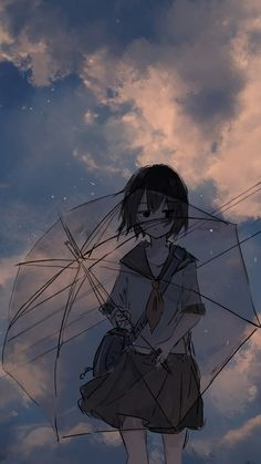 Anime girl and umbrella, art, 2160x3840 wallpaper