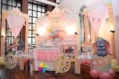 A beautiful pastel colored Dumbo themed party for a little girl's birthday! The amazing backdrop and candy buffet was designed by ParteeBoo - The Party Designers Dumbo Birthday Party, 1st Birthday Party For Girls, Carnival Birthday Parties, Circus Birthday, Baby Party, Birthday Party Themes, Birthday Ideas, Dumbo Baby Shower, Circus Theme Party