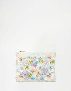 Image 1 of ASOS Metallic Occasion Floral Clutch Bag