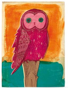 Bright owl in pink  5x7 art print by lovelysweetwilliam on Etsy, $12.00