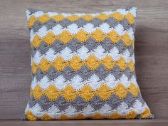 Cute crochet pillow cushion cover, cool yellow gray throw pillows, diamond pattern cotton standard sham set ~ 16 x 16 (40 x 40 cm) sham set This cute pillow cover is crochet using the finest Egyptian cotton yarns in a classic combination of white, yellow and grey diamond pattern. The