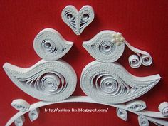 quilled love birds. A cute valentines day idea.