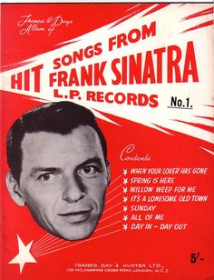 Frank Sinatra Hit Songs Book of Sheet music for Piano & Voice 1959