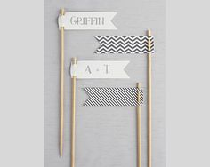 These stylish personalized toothpicks are pennants that display important names and titles when designing the perfect seating arrangement for a wedding reception or important party. There is no mistaking seating preferences with these cute flags.