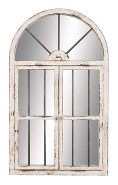 """Aspire Home Accents 74397 42"""" Arched Window Wall Mirror White Home Decor Mirrors Lighting"""