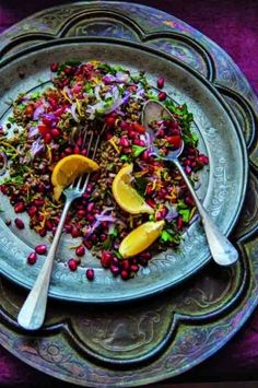 Freekeh and lentil tabbouleh with pomegranate