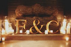 fireplace for summer wedding...candles...love..... Would also be cute at the head table!