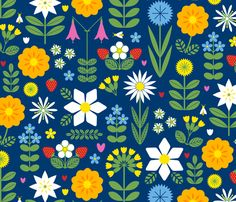 Vilda Blommor (Wildflowers) fabric by jenimp on Spoonflower - custom fabric