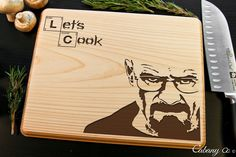 Breaking Bad Lets Cook Personalized Engraved Cutting Board BW - Cabanyco