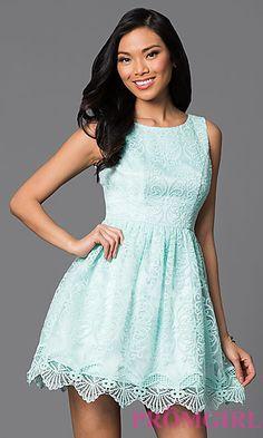 Short Scoop Back Scalloped Hem Dress at PromGirl.com