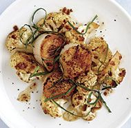 Seared Scallops with Cauliflower, Brown Butter, and Basil
