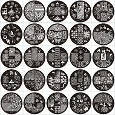 Ap Serie Tavole Rotonde Disco Dello Stampino Del Chiodo Nail Art Piatto di Immagine Template Chiodo Piastre di Stampaggio