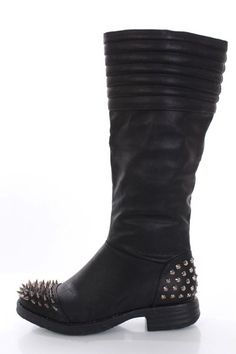 Black Faux Leather Spike Studded Mid Calf Boots @ Amiclubwear Boots Catalog:women's winter boots,leather thigh high boots,black platform knee high boots,over the knee boots,Go Go boots,cowgirl boots,gladiator boots,womens dress boots,skirt boots,pink boot