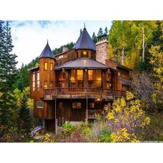 Somebody Go Buy This Majestic Freak of a Log Cabin Castle ❤ liked on Polyvore featuring home, home decor, wooden home decor and wood home decor