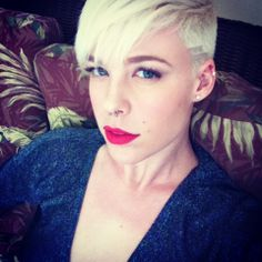 My hair that I cut and dye myself. Platinum pixie with side shave.