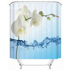 Concise Unique Flower Design 3D Shower Curtain