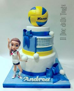Volleyball cake - Cake by Davide Minetti Volleyball Birthday Cakes, Volleyball Room, Volleyball Party, Volleyball Outfits, 16 Birthday Cake, Volleyball Drills, Volleyball Gifts, Coaching Volleyball, 16th Birthday