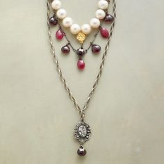 Ah, Romance Necklace  Regal tiered necklace mixes cultured potato pearls with deep red garnets and vibrant rubies, amid sterling silver and 22kt vermeil charms. Oxidized sterling silver links and clasp. Handmade in USA. Exclusive