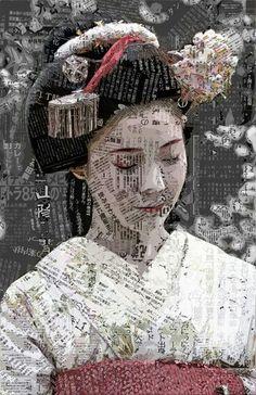 ideas house art collage for 2019 Art Du Collage, Collage Portrait, Mixed Media Collage, Mixed Media Canvas, Japan Design, Geisha, Collages, Kunst Online, Art Asiatique