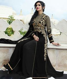 Buy Black Georgette Palazzo Style Suit 77266 online at lowest price from huge collection of salwar kameez at Indianclothstore.com.