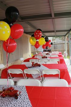 Fire truck birthday party tables and centerpieces. Colors are red, yellow and black// This but dump trucks or other construction vehicle Birthday Party Centerpieces, Birthday Party Tables, 3rd Birthday Parties, 2nd Birthday, Birthday Ideas, Fireman Party, Firefighter Birthday, Fireman Sam, Firefighter Baby Showers