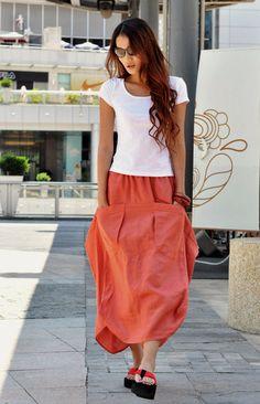 Lagenlook+Maxi+Skirt+in+Orange+Two+Big+Pockets+by+Sophiaclothing,+$59.99