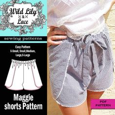 WRAP SHORTS PATTERN 307 Maggie Shorts pdf sewing pattern