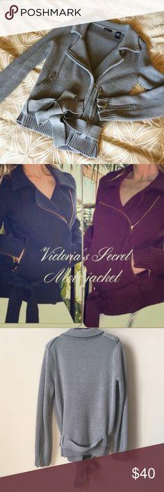 Moda International moto jacket Sweater moto style jacket, Moda International by Victoria's Secret, gray with gold zipper detail, knit comfy cinched waist tie Moda International Jackets & Coats