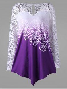 Plus Size Lace Yoke Ombre Top - Purple Lace Spandex Plus Size Tank Tops, Plus Size T Shirts, Plus Size Blouses, Plus Size Dresses, Plus Size Outfits, Crop Tops, Top Mode, Mode Plus, Top Fashion