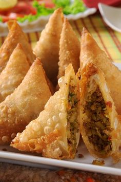 Beef Samosas with ground beef, potatoes, and peas