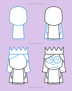 Simple drawing lesson on how to draw a princess.