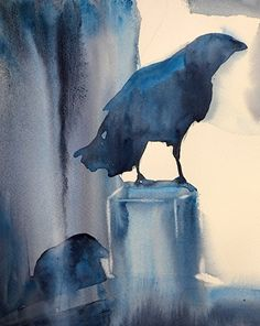 Crows by Sarah Yeoman Watercolor ~ 14 x 12