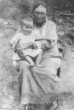 Chisholm-Moore with her son Warren Moore - Cherokee - circa 1900