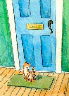 Tabbies at the door, painting by artist Nicole Wong
