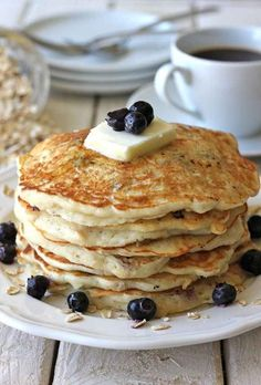 Blueberry Oatmeal Yogurt Pancakes | 21 Healthy And Delicious Freezer Meals With No Meat