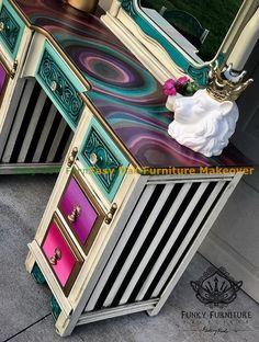 DIY Furniture Makeover Incredibly Creative Furniture Hacks The History Of Vacuum Clea Funky Painted Furniture, Refurbished Furniture, Paint Furniture, Repurposed Furniture, Shabby Chic Furniture, Cool Furniture, Modular Furniture, Bedroom Furniture, Furniture Design