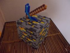 Minecraft Gold Ore Block Bank by BeadProShop on Etsy, $15.00