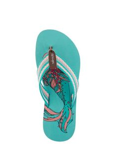 Durable and fun, the new Eudora thong sandal is perfect for the beach or the boardwalk. The large strap makes them super comfortable. Choose your favorite print!
