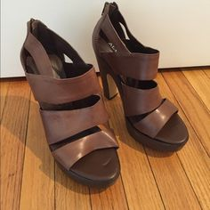 Aldo high heel sands Great condition leather platform sandals. Only sign of wear on soles as shown ALDO Shoes Platforms