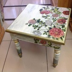.Beautiful little table                                                                                                                                                     More #decoupagefurniture